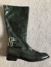 PAUL SMITH WOMENS DARK GREEN KINGS BIKER BOOTS LEATHER STRAPS VGC SIZE 40 / 7