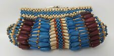 Kate Landry Clutch Purse with Wooden Beads Bag Made in Philippines Multicolored