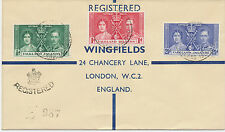 FALKLAND ISLANDS 1937 Coronation R-FDC PORT STANLEY to ENGLAND