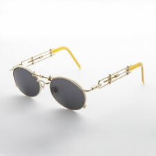 Gold Oval Steampunk Vintage Sunglass with Intricate Temple Design  - Cyrus