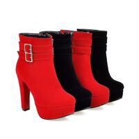 Womens Faux Suede Zip Platform High Heel Ankle Boots Shoes UK Size 1--12 B320