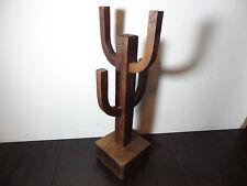Wooden Cactus Shaped Coffe Mug Tree/Holder/Rack - Southwestern Style