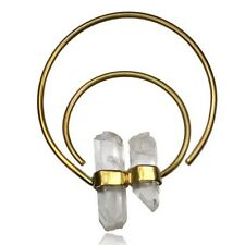 "PAIR 12g TRIBAL BRASS NATURAL CRYSTAL PLUGS EARRINGS GAUGES HOOPS 2"" 3/4 INCH"