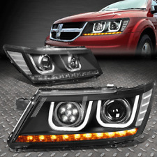 [LED DRL]FOR 09-17 DODGE JOURNEY BLACK/CLEAR CORNER PROJECTOR HEADLIGHT LAMPS