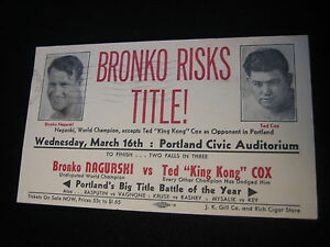 BRONKO NAGURSKI, KING KONG COX  MATCH 1938  POSTCARD VINTAGE  PORTLAND, OREGON
