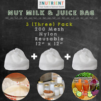 Nut Milk Bag Nylon -  3 (Three) 12x12 Premium for milk, juice, coffee, REUSABLE!