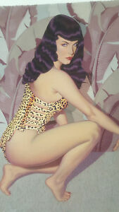 Bettie Page Banana Leaf Lithogrpah By Robert Blue Signed By Bettie Page & R Blue