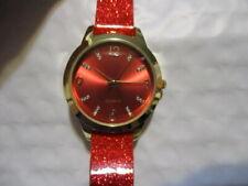 """AVON Sparkle Party Watch Dazzling RED 9""""L Strap w/Goldtone Case & Rhinestone #'s"""