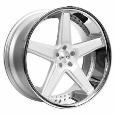 "22"" Staggered Azad Wheels AZ008 Silver Brushed with Chrome Lip w/ Tires TPMS"
