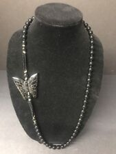 "VTG Black Chinese Onyx Hand Knotted Carved Butterfly Necklace 109 Gram 32"" IN"
