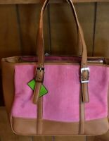 LARGE BATH and BODY WORKS Tote Bag Faux Leather & Pink Corduroy w Scarf