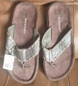 Brand New Mens Rockport Brown Flip Flops Sandals Thongs Size 10