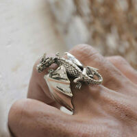 Flying dragon Ring Silver celtic Sterling Jewelry biker gothic 925 Gift Fantasy