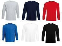 Men's Fruit of the Loom 100% Cotton Long Sleeve T Shirt Plain Tee Shirt Top New