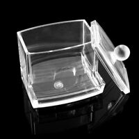 Clear Acrylic Cotton Pad Swab Q-tip Storage Bud Holder Box Makeup Organizer