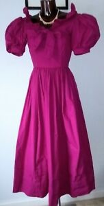 Laura Ashley vintage 1980's cerise pink cotton calf length dress size 6  8