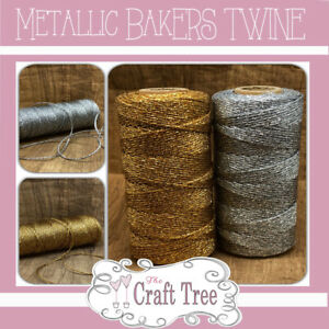 Gold - Silver Metallic Bakers Twine / String / Cord 2mm width -- Various lengths