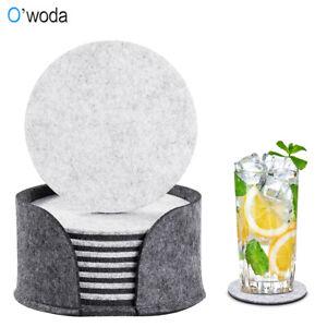 Filz-Untersetzer 8er Set für Getränke Gläser waschbarer Glasuntersetzer Rund