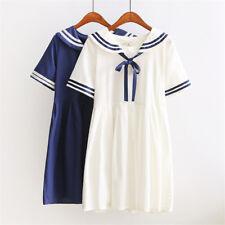 Vestido Casual Collar japonés Sweet Lolita Marinero Vestido Manga Corta Niña de estudiante