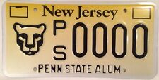 New Jersey PENN STATE UNIVERSITY license plate PSU Littany Lions Lion NCAA PA NJ