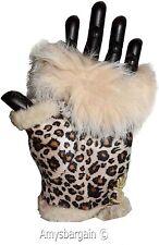 Winter Gloves, Hand/Wrist Warmer leopard printed Women's Finger-less Gloves