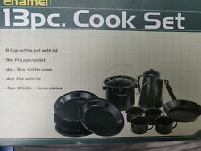 Ozark Trail Portable Outdoor Camp Equipment 13 Pc 4 person Enamel Cook Eat Set