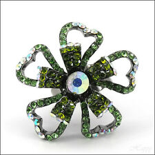 Flower Floral Hearts Open Cocktail Finger Rings Rhinestone Crystal Green Jewelry