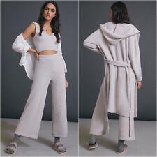 Anthropologie NIA Riley Three Piece Lounge Pants Top Hoodie Coat Set Medium Gray
