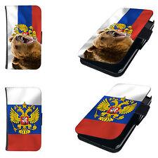 Hülle für Smartphone Book Tasche RUSSLAND Fahne Flag Flip Case Cover Etui Motiv