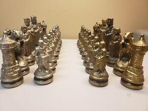 Rare Anri - E.S. Lowe RENAISSANCE CHESS SET Gold Silver Metal Men Vintage Italy
