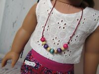 Wood Beaded Necklace Sized For American Girl Doll, KNC & Other Similar Dolls