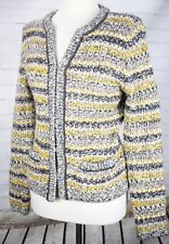BANANA REPUBLIC Tweed Sweater Jacket Womens M Thick Knit Gray Yellow Stripes