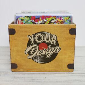 "Design Your Own Record Box 12"" Large 85 LP's Wooden Custom Album Crate"