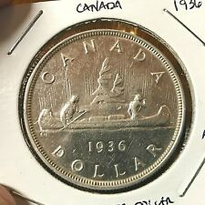 1936 CANADA SILVER DOLLAR NEAR  UNCIRCULATED CROWN