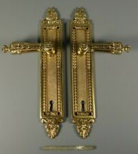 Vintage Ornate Pair Door Handles Knob Baroque Italy Brass Hardware Push Plates