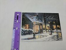 Christmas Holiday Card Snowy City Street for Northwoods Craftsman Kovach Art