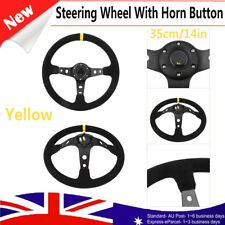 35cm 6 Bolt Suede Leather Deep Dish Car Auto Racing Steering Wheel w/Horn Button