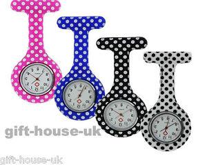 Nurse Watch Polka Dot Pattern Silicone Brooch Tunic Fob Watch NHS FREE 2 BATTERY