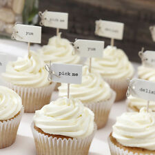 VINTAGE CAKE PICKS / TOPPERS / FOOD FLAGS, RUSTIC WEDDING CUPCAKE DECORATION