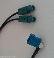 VW AUDI Dual-Male Fakra Y-Splitter to Female Fakra Antenna Adapter