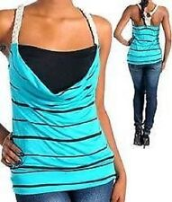 Turquoise Black Stripe Tank Top Junior Size S Small New Without Tags Made In USA