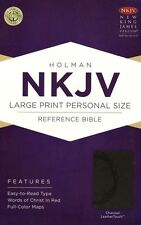 NKJV Large Print Personal Size Reference Bible, Charcoal LeatherTouch (2013,...