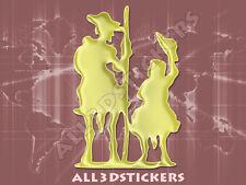 Pegatina Don Quijote y Sancho Panza 3D Relieve - Color Oro
