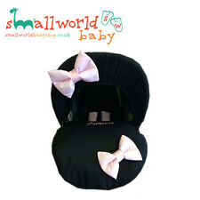 Personalised Black & Pink Bows Baby Car Seat Cover (NEXT DAY DISPATCH)