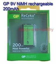 2x GP 9V rechargeable ReCyko 200mAh NiMH Batteries FREE registered post tracking
