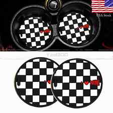 72MM For Mini Cooper Cup Holder Cup Non-slip Mat Checker with Heart UK Flag 2x