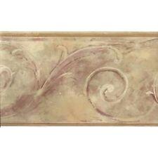Formal Matt Gold with Burgundy Scroll Wallpaper Border FT75795
