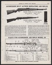 1940 SCHMEISSER Model 33 Air Rifle AD w/ schematic & parts list