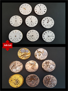Antique Pocket Watch Movements Job Lot Longines Elgin Waltham Burlington 21j
