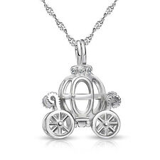 """Cinderella Openable Pumpkin Car Pendant Necklace Chain 18"""" 925 Sterling Silver"""